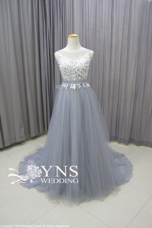 5c5c64ec7c3f1 カラーをグレーへ変更 ショルダーへ刺繍をプラスデザイン変更後. スモーキーカラーで理想のドレス ...
