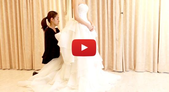 ウェディングドレスを10秒で「ミニ丈」のドレスに